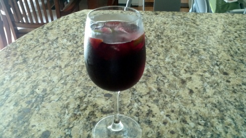 Enjoy a cold sangria with your grilled paella!