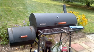 "The ""Beast"", aka 'Locomotive Smoker Grill"" in action, smoking ribs all day long!"