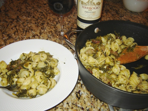 Puglia pasta recipe featuring Orecchiette with sweet sausage, rapini, and garlic from Paggi Pazzo.