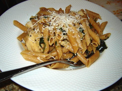 Chicken, Penne, and Spinach Recipe from Paggi Pazzo