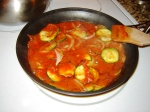 Easy recipe for zucchini, onion, and red sauce as a side dish or appetizer with bread or crackers from Paggi Pazzo!