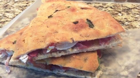 Focaccia Bread Panini with Prosciutto di Parma and Fresh Mozzarella from Paggi Pazzo