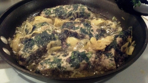 Pork covered parsley with chopped artichoke in a white wine sauce from Paggi Pazzo