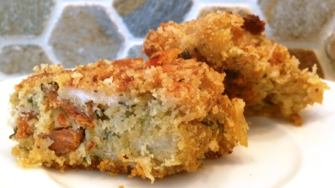 Crab croquettes with flavors from Spain, such as chorizo, manchego, and fresh parsley from Paggi Pazzo!