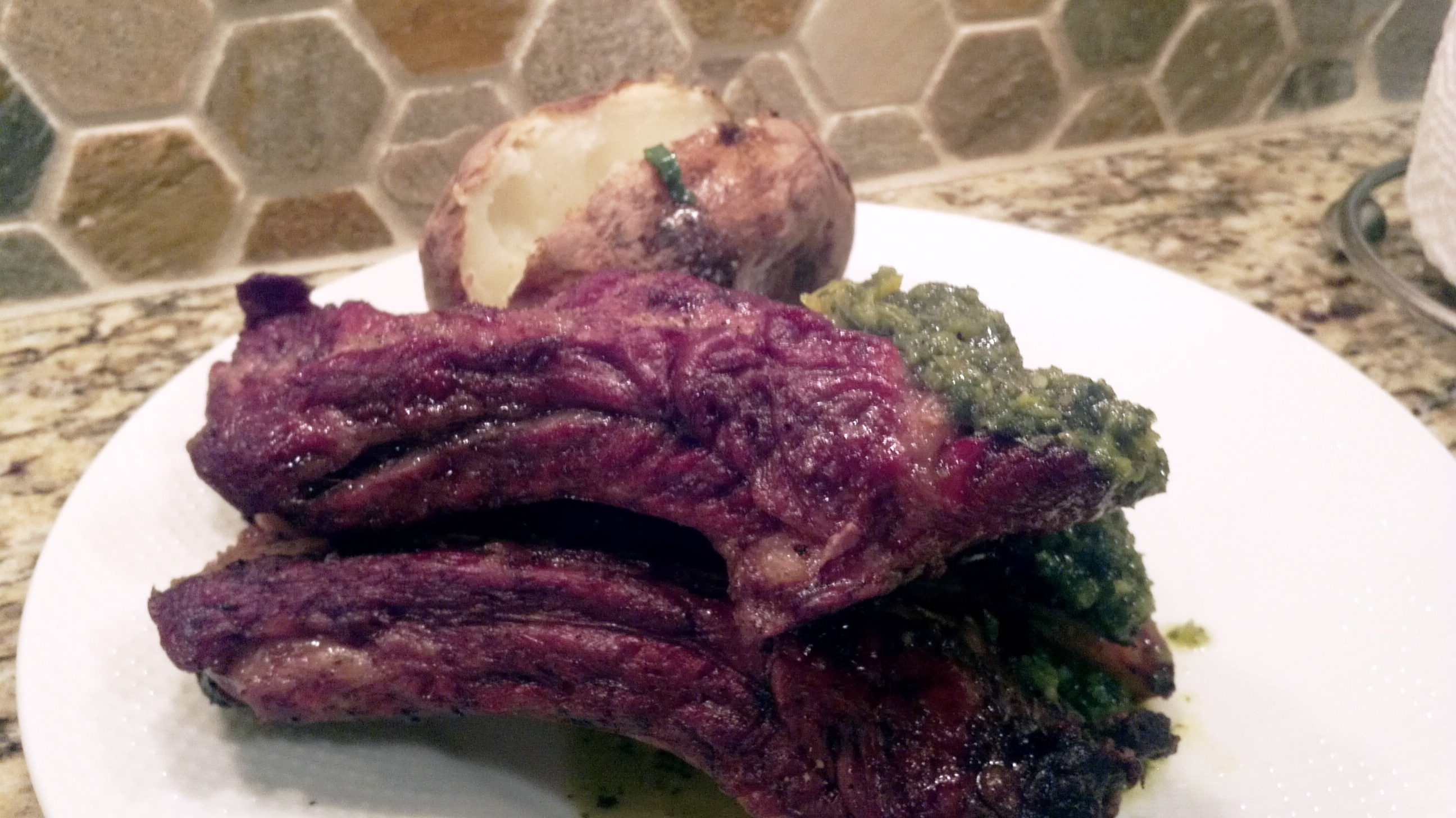 Grilled Argentinian Style Beef Ribs With Chimichurri