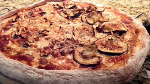 Campania style pizza with eggplant, artichoke, and mushrooms from Paggi Pazzo