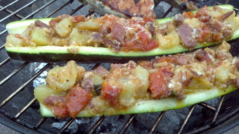 Grilled Uruguayan style with stuffed zucchini (Zapallitos Rellenos) with prosciutto di Parma, sun-dried tomatoes, and fresh mozzarella from Paggi Pazzo
