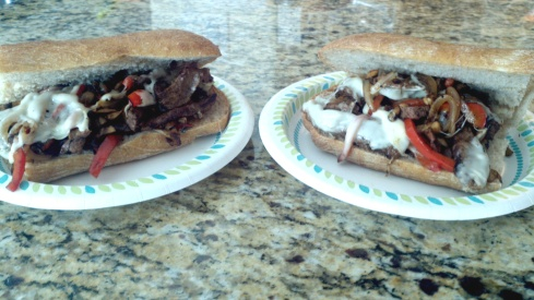 Steak and cheese with provolone, mushrooms, peppers and onions from Paggi Pazzo