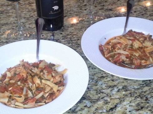 Homemade fresh tagliatelle in a red lobster sauce recipe from Paggi Pazzo