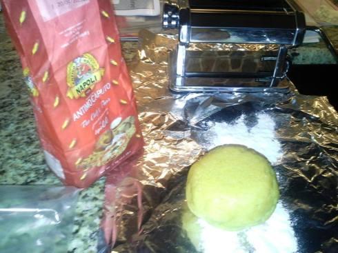 Preparing homemade fresh tagliatelle pasta from Paggi Pazzo