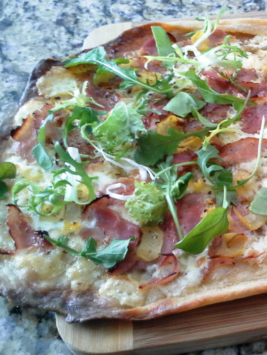 Roman Style Pizza Bianca with Prosciutto Cotto, Artichokes, Taleggio, and Arugula Recipe